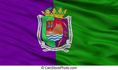 Closeup Malaga city flag, Spain - Malaga closeup flag, city...