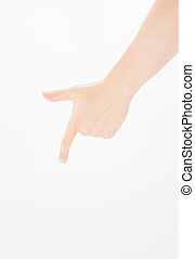 Closeup male hand pointing. Isolated on white background. caucasian hand. Mock up. Copy space. Template. Blank.