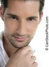 Closeup male young man portrait over white