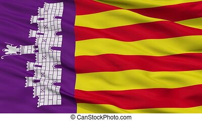 Closeup Mallorca city flag, Spain - Mallorca closeup flag,...