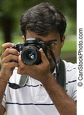 closeup man camera