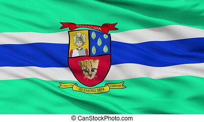 Closeup Maracay city flag, Venezuela - Maracay closeup flag,...