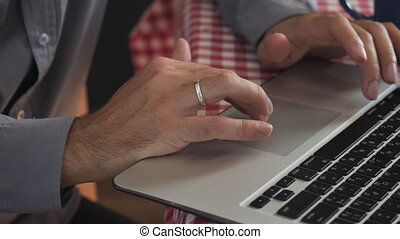 closeup married guy using pc. - close up details man typing...