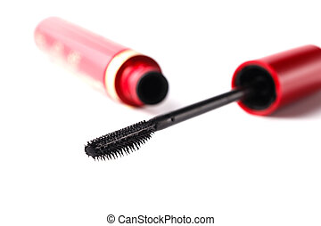 Closeup Mascara Bottle and Brush. Black Mascara wand and Tube Isolated on White