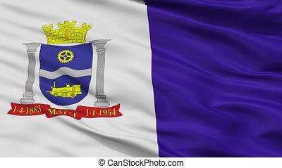Closeup Maua city flag, Brasil - Maua closeup flag, city of...