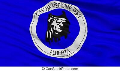 Closeup Medicine Hat Alberta city flag, Canada - Medicine...