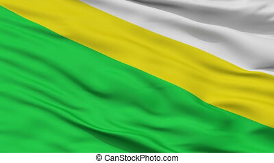 Closeup Medina city flag, Colombia - Medina closeup flag,...