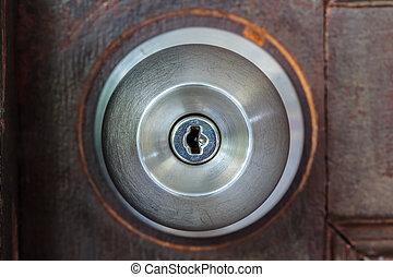 Closeup metal handle door
