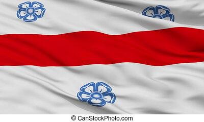 Closeup Miercurea Ciuc city flag, Romania - Miercurea Ciuc...
