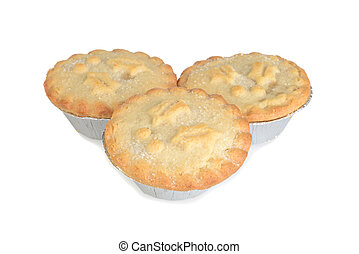 closeup mincemeat pies with sugar on top