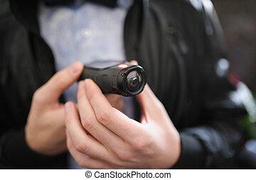 closeup, mini, appareil photo, vidéo