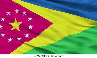 Closeup Moca city flag, Puerto Rico - Moca closeup flag,...