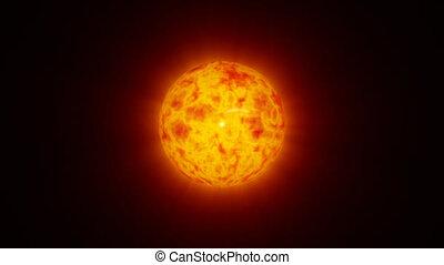 closeup, modelo, de, erupção solar