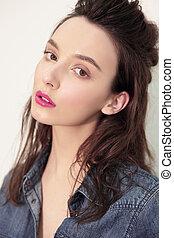 closeup, modelo, Retrato, mulher