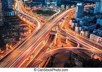 closeup, moderne, jonction, viaduc, ville