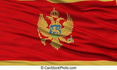 Closeup Montenegro Flag, Waving in the Wind, High Resolution