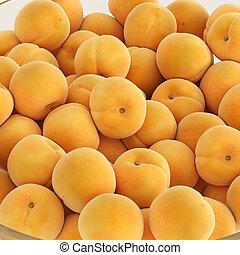 closeup., monticule, fond, 3d, jaune, isolé, rendre, abricots, mûre