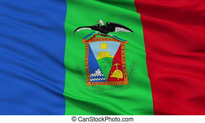 Closeup Moquegua city flag, Peru - Moquegua closeup flag,...