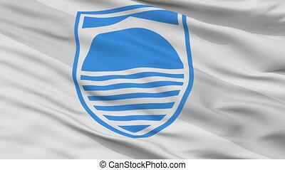 Mostar closeup flag, city of Bosnia Herzegovina, realistic animation seamless loop - 10 seconds long