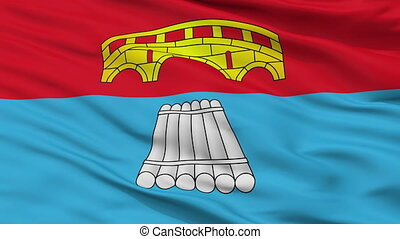 Closeup Mosty city flag, Belarus - Mosty closeup flag, city...