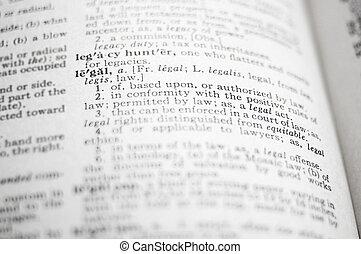 closeup, mot, légal, dictionnaire