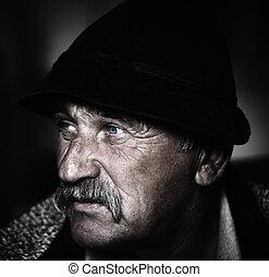 closeup, moustache, artistique, ajouté, grain, gris, homme photo, vieilli