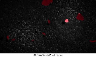 closeup, mouvement, brillant, romantique, cœurs, animation, valentin, fond, jour