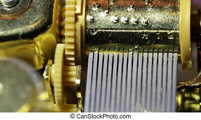 Closeup Moving Inner Workings - Music Box Inner Workings...