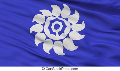 Closeup Muko city flag, prefecture Kyoto, Japan - Muko close...