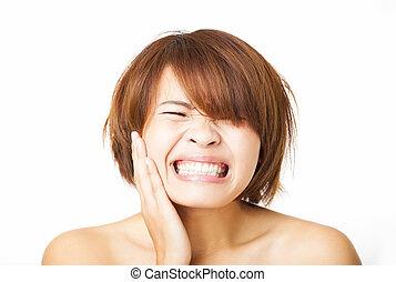 closeup, mulher jovem, tendo, toothache