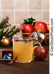 closeup mulled spiced apple cider with cinnamon stick