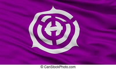 Closeup Musashino city flag, prefecture Tokyo, Japan -...