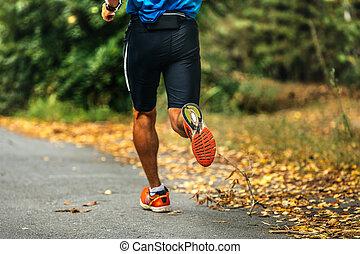closeup muscular foot athlete runner