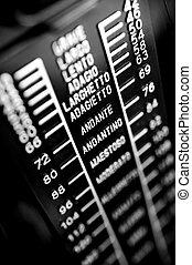 closeup musical metronome, musical time keeping