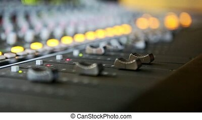 Closeup Musical Mixing Consol Guy Hand Touches Faders -...