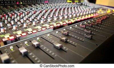 Closeup Musical Mixing Console Faders Move - closeup musical...