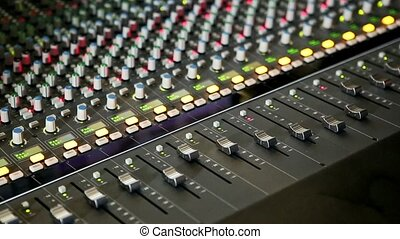Closeup Musical Mixing Console Guy Hand Pushes Faders -...