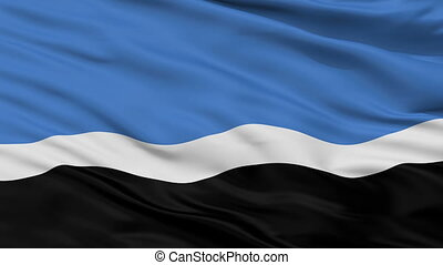 Closeup Mustvee Jogeva County city flag, Estonia - Mustvee...