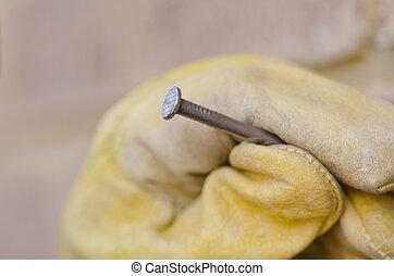 Closeup nail hand repair blurred background