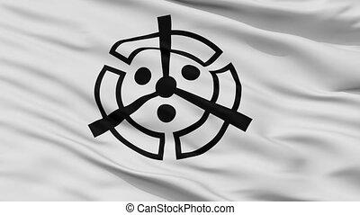 Closeup Nakatsu city flag, prefecture Oita, Japan - Nakatsu...