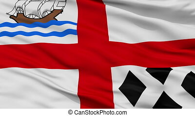 Closeup Nanaimo city flag, Canada - Nanaimo closeup flag,...
