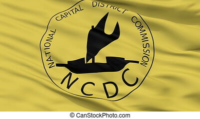 Closeup NCD city flag, Papua New Guinea - NCD closeup flag,...