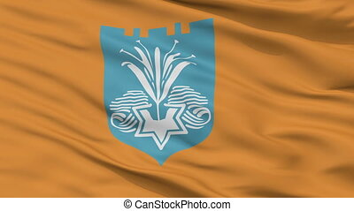 Closeup Netanya city flag, Israel - Netanya closeup flag,...