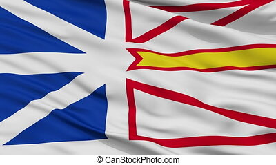 Closeup Newfoundland and Labrador city flag, Canada -...