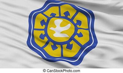 Closeup Nicosia city flag, Cyprus