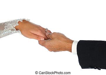 closeup, noce couple, tenant mains