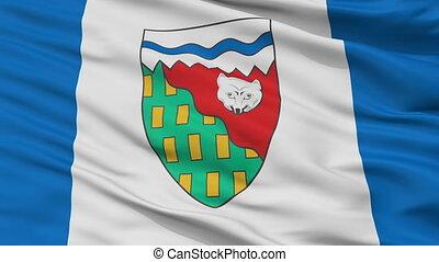 Closeup Northwest Territories city flag, Canada - Northwest...