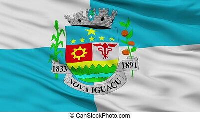 Closeup Nova Iguacu city flag, Brasil - Nova Iguacu closeup...