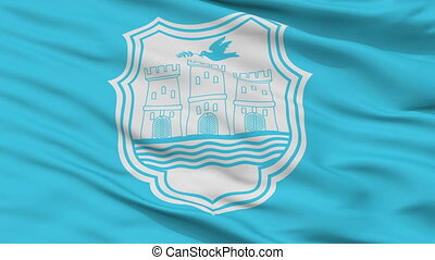 Closeup Novi Sad city flag, Serbia - Novi Sad closeup flag,...