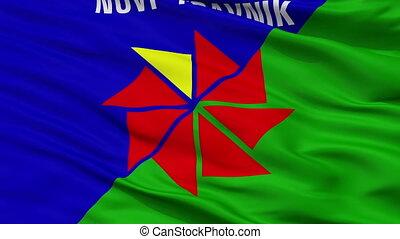 Novi Travnik closeup flag, city of Bosnia Herzegovina, realistic animation seamless loop - 10 seconds long